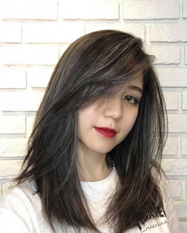 Kết quả hình ảnh cho tóc mái xéo dài
